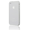 White-Clear Bumper Frame TPU Silicone Case for iPhone 4S 4G with Side Button