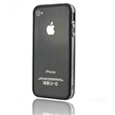 Black-Clear Bumper Frame TPU Silicone Case for iPhone 4S 4G with Side Button
