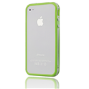 Green-Clear Bumper Frame TPU Silicone Case for iPhone 4S 4G with Side Button