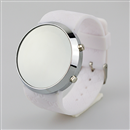 Blue LED Mirror Men Lady Sport Casual Watch with White Band