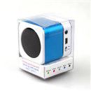 Mini Speaker Portable Micro SD TF MP3 Music Player FM Radio LCD Screen Baby Blue