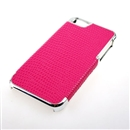 Red Deluxe Snake Skin PU Leather with Silver Edge Snap-On Hard Case Cover for Apple iPhone 5 5G 5th Gen
