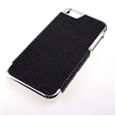 Black Deluxe Snake Skin PU Leather with Silver Edge Snap-On Hard Case Cover for Apple iPhone 5 5G 5th Gen