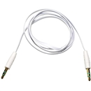 3FT 3.5mm Male M/M Stereo Plug Jack Audio Flat Extension Cable For Phone PC MP3  White