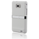 WHITE DELUXE HARD CASE COVER WITH CHROME STAND RUBBERIZED CLIP Samsung Galaxy S II S2 i9100