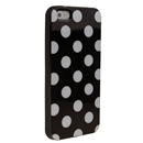 Black with white Wave Point Dot Soft Back Case Cover Skin for iPhone 5 5G 5th Gen New