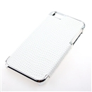 White Deluxe Snake Skin PU Leather with Silver Edge Snap-On Hard Case Cover for Apple iPhone 5 5G 5th Gen