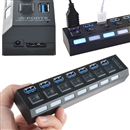 7-Port USB 3.0 SuperSpeed Hub with 5V/2A Power Adapter and Per-Port Switches