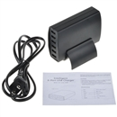 Black 6-Port USB Charger Travel Adapter Intelligent Detect Fast Charging 5V 12A 60W
